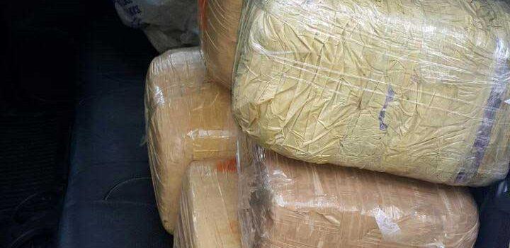 Ocupan cinco paquetes de marihuana en Santiago