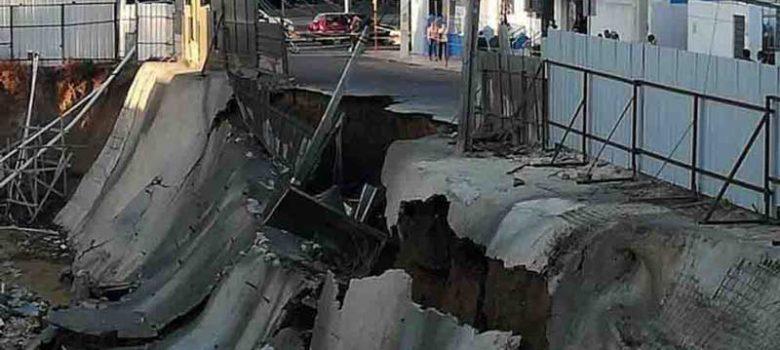 Rotura tubería hizo colapsar pared y parte de calle Bisonó Toribio